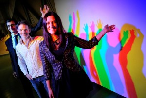 Scottish Enterprise's David Smith pictured with Adventures in Light's Cristina Spiteri and Richard Anstice