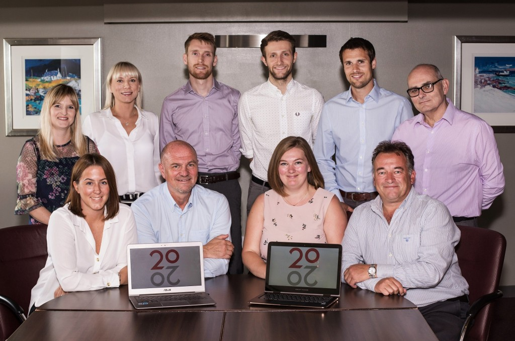 20/20 Business Insight of Aberdeen. (back row left to right) Karen Brown, Emma Hart, Jamie Birse, Jacob Bonner, Business Development Director Tom Vincent, and Operations Director Neil Harkin. (front row left to right) Emma Davidson, Service Delivery Director Graham Chapman, Finance Director Mandy Buck,  and CEO Tony Marks. Taken 15-08-18