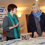 Lisa Falconer, journalist (left) with a reader at our open day in Gairloch in 2012
