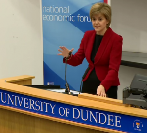 First Minister Nicola Sturgeon speaking during the National Economic Forum meeting in Dundee earlier this month.