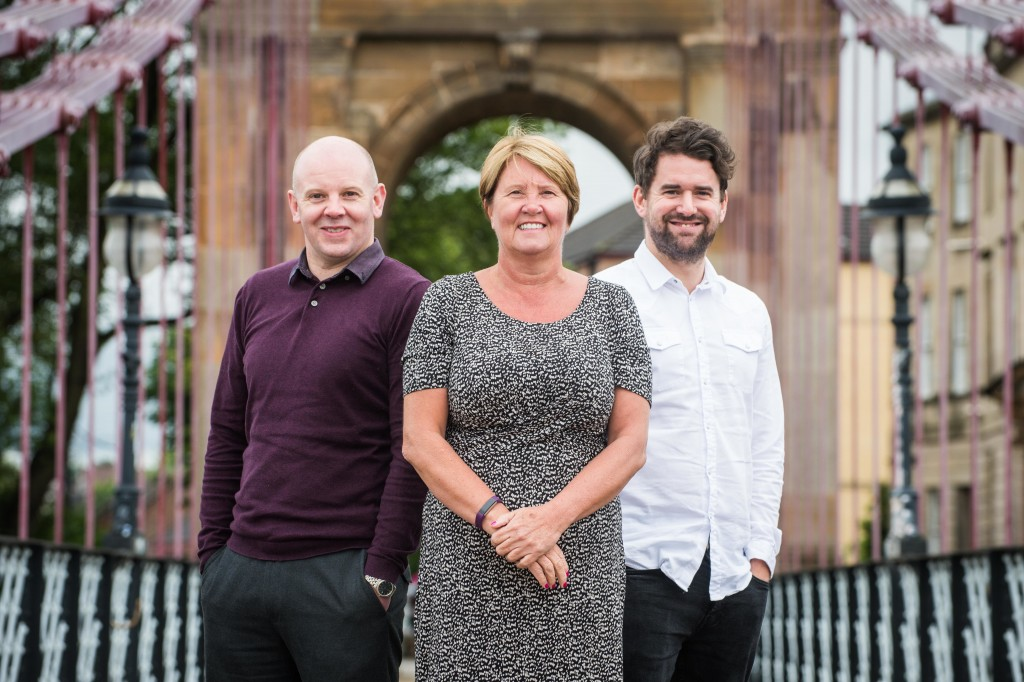 Caledonian Social Care, management and staff. L-R - Stuart Robertson, Regional Manager; Margaret Paterson, Managing Director; Derek Oliver, Regional Manager Taken 27-06-17
