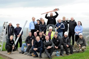Scan Building Services, Dundee, 11/05/2018. Scan Building Services, pictured on Dundee Law, Dundee. Directors Graham Prophet (correct, lower front centre with navy coloured jersey) and Mark McKenzie (lower front centre, black jacket, tie and white shirt) with other Scan staff. Photography for Scottish Enterprise from: Colin Hattersley Photography - www.colinhattersley.com - cphattersley@gmail.com - 07974 957 388.