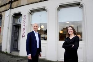 Tangram Furnishers, Jeffrey Street, Edinburgh, 28/10/2020: Founder Julian Darwell-Stone with managing director Sarah Ramsay in their Edinburgh Old Town showroom / office.